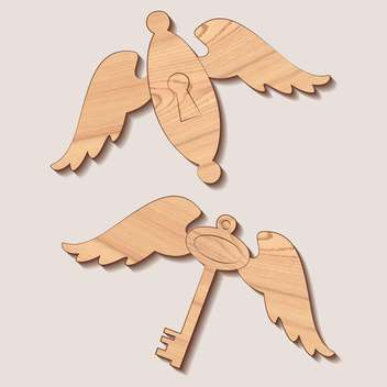 Vector wooden key and keyhole with wings - Free vector #129308