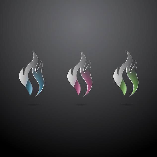 Vector set of glass fire icons on dark background - vector #129408 gratis