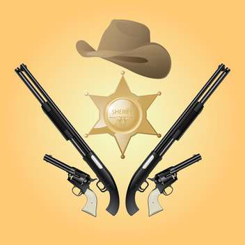 Vector Texas sheriff set on yellow background - vector gratuit #129418