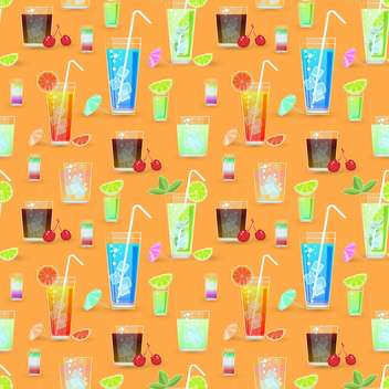 Vector seamless pattern with cocktails - vector #129428 gratis