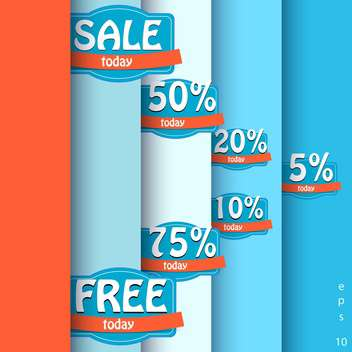 Vector set of sale labels on background with stripes - vector gratuit #129448