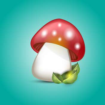 Vector illustration of amanita mushroom on green background - Free vector #129458