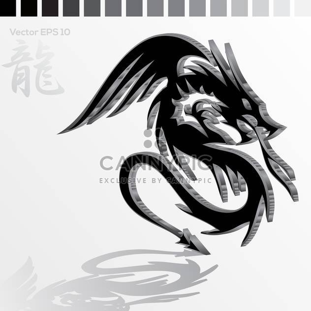 Vector illustration of black Chinese dragon - Free vector #129508
