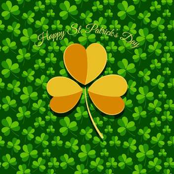 Vector St Patricks Day greeting card with yellow clover leaf - vector #129538 gratis