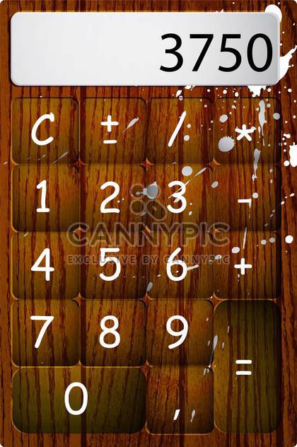 Vector wooden calculator with drops and numbers - Free vector #129548