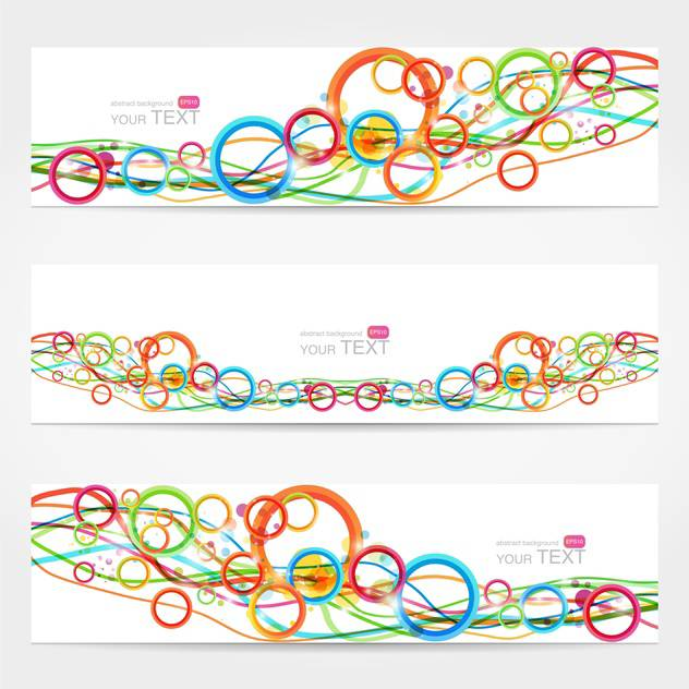 Abstract vector cards with colorful lines and circles - vector gratuit #129598