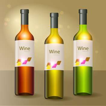Vector illustration of three wine bottles on yellow background - Free vector #129618