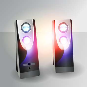 Vector illustration of loudspeakers on gray background - Free vector #129678