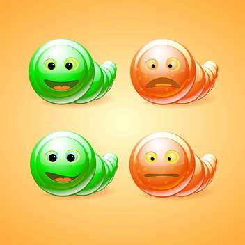 Vector set of green and orange funny worms on orange background - vector gratuit #129688