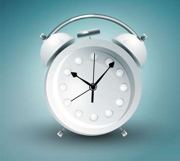 Vector illustration of metal alarm clock on blue background - vector gratuit #129718