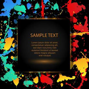 Vector colourful bright ink splats design with black background - vector gratuit #129758