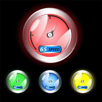 Vector dashboard speedometer icons on black background - vector #129808 gratis