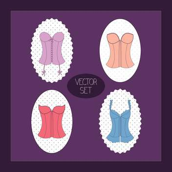 Vintage purple vector background with female corsets set - vector gratuit #129828