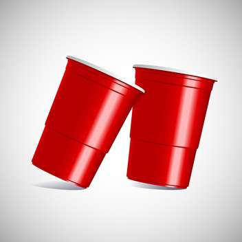 Vector illustration of red plastic cups on gray background - Free vector #129848