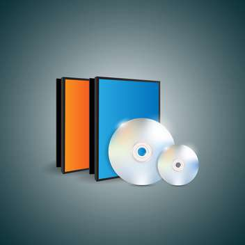 Vector illustration of blank cases and disks on dark background - vector gratuit #129858