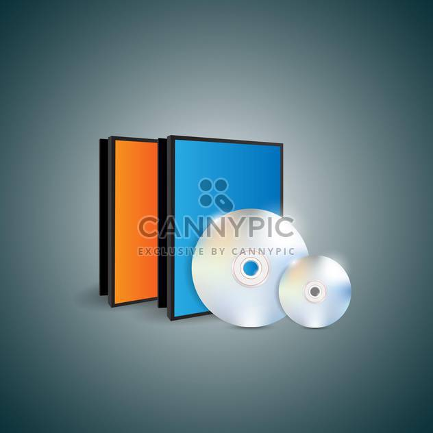 Vector illustration of blank cases and disks on dark background - Free vector #129858