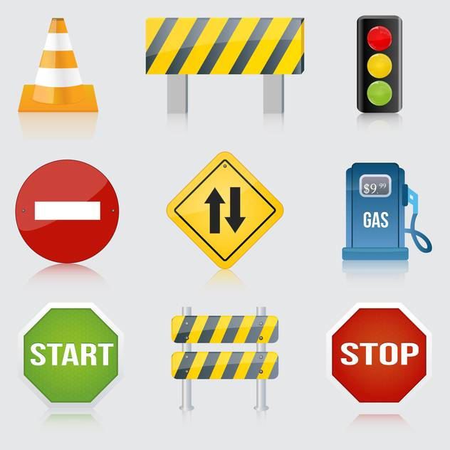 Vector set of various road and highway signs on gray background - Free vector #129888