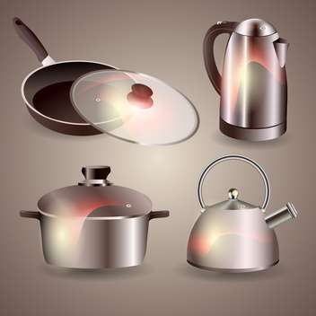 Vector set of new kitchenware on grey background - vector #129998 gratis
