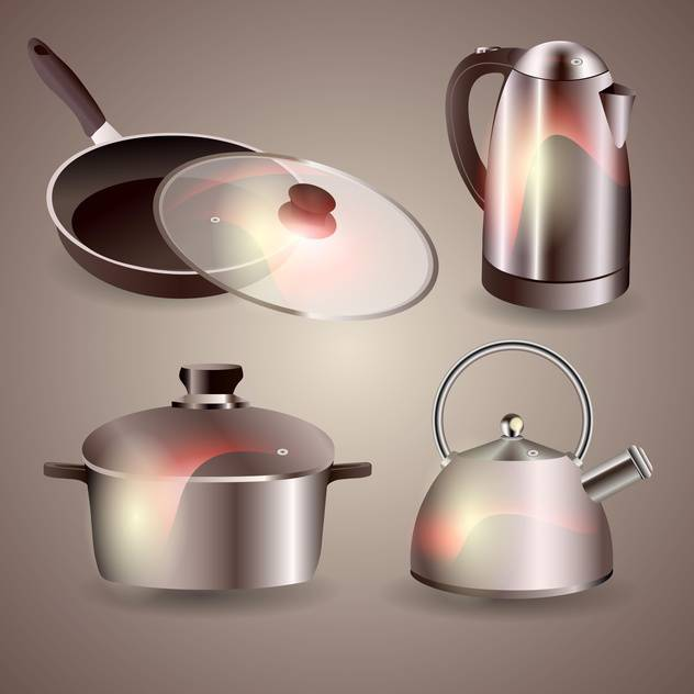 Vector set of new kitchenware on grey background - Free vector #129998