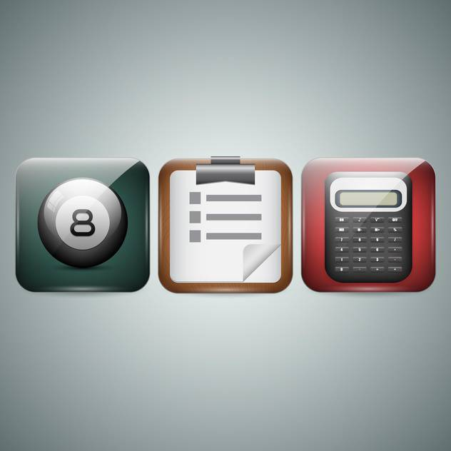 Mobile phone icons on grey background - Free vector #130098