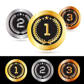 Vector set of gold, silver and bronze medals isolated - Free vector #130108