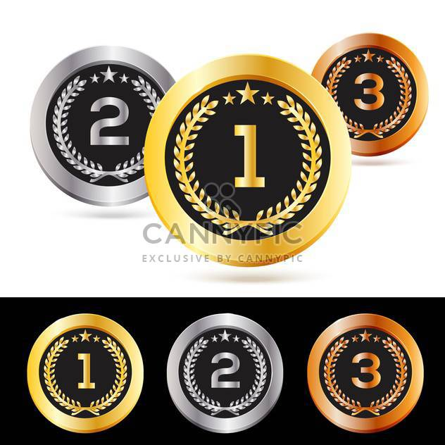 Vector set of gold, silver and bronze medals isolated - Kostenloses vector #130108