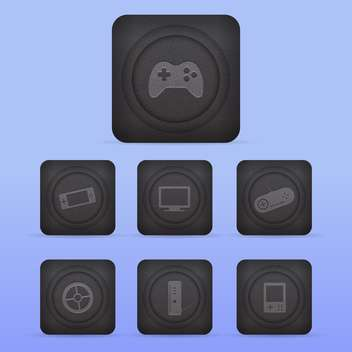 Vector video game icons set on blue background - vector #130148 gratis