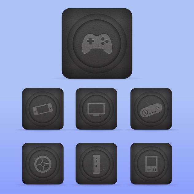 Vector video game icons set on blue background - Free vector #130148