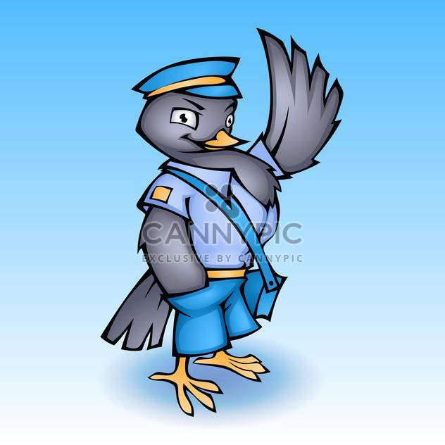 Vector illustration of cartoon postman pigeon on blue background - Free vector #130168