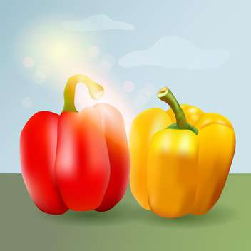 Vector illustration of sweet pepper on nature background - бесплатный vector #130178