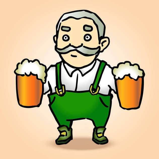 Vector illustration of cartoon Oktoberfest man with beer - бесплатный vector #130198