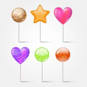 Set of lollipops on white background - Free vector #130218
