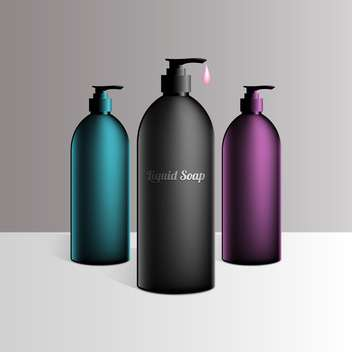 gel, foam and liquid soap bottles set - vector gratuit #130298