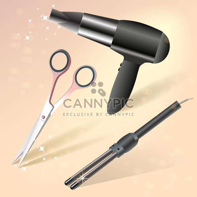 Hairdressing accessories vector icons - Free vector #130388
