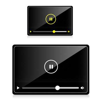 Vector audio video player on white background - Free vector #130608