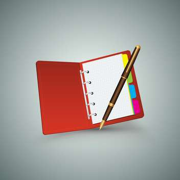 red notebook with pen on grey background - Free vector #130698