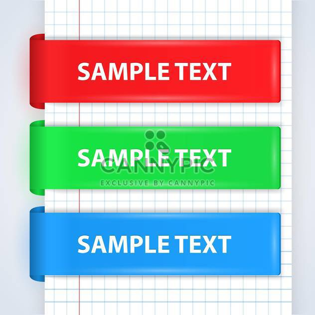 vector set of colorful ribbons wih text place - Free vector #130728