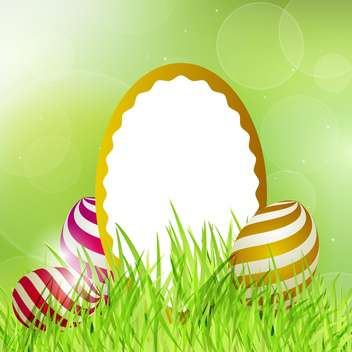 Easter frame with eggs on grass vector illustration - бесплатный vector #130898