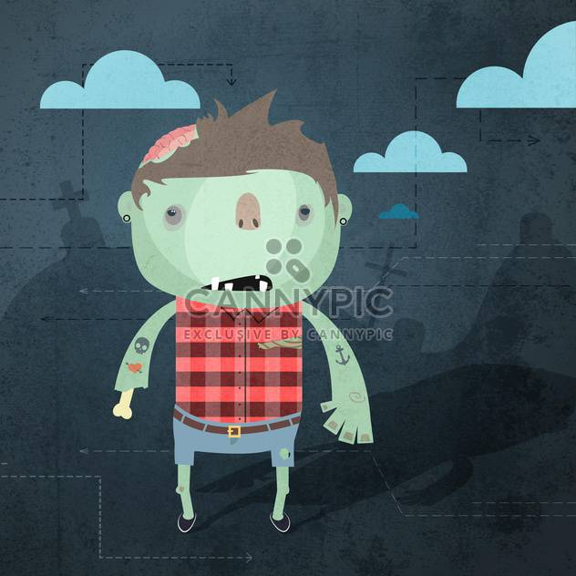 Vector grunge background with zombie - Free vector #130908
