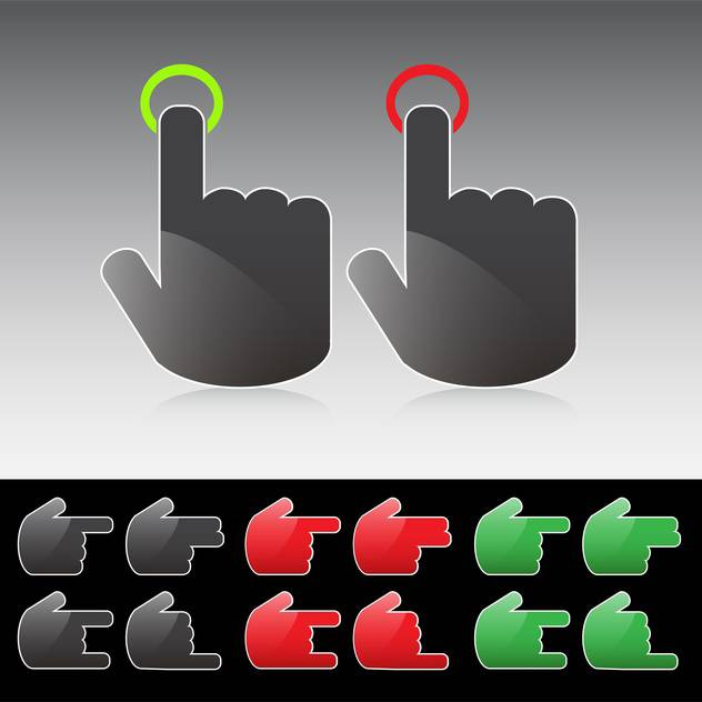 Various hand button icons on grey background - Free vector #130918