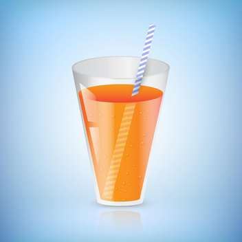 Glass of juice with a straw vector illustration - бесплатный vector #130978