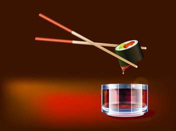 Sushi dipping in soy sauce vector illustration - бесплатный vector #130998