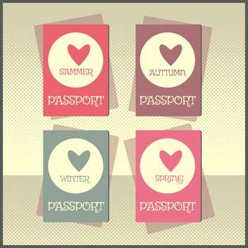 Retro style passport cover vector illustration - Free vector #131028