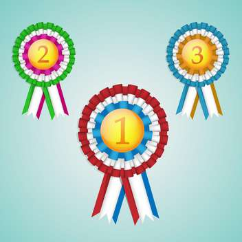 a set of three first, second and third place rosettes - бесплатный vector #131078