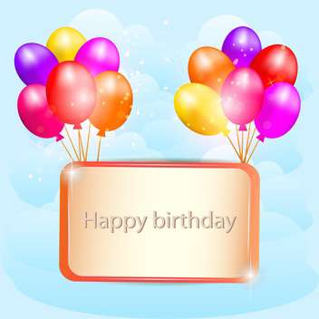 Illustration for happy birthday card with balloons - vector gratuit #131138