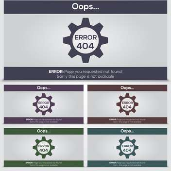 set of vector 404 error icons for web - бесплатный vector #131358