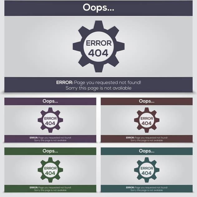 set of vector 404 error icons for web - Free vector #131358