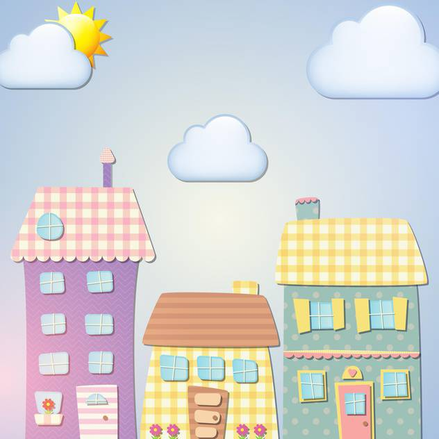 Old cartoon city background vector illustration - vector gratuit #131388