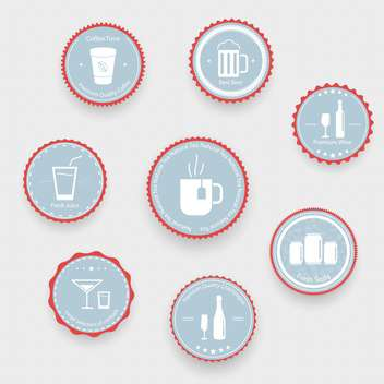 Drinks icons on blue balls on light background - Free vector #131468