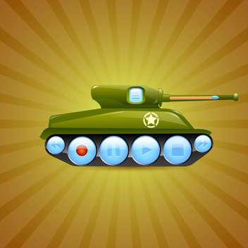 Vector illustration of tank on green background - vector gratuit #131478